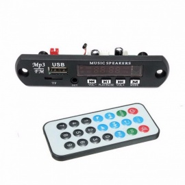 5V 12V Car Bluetooth 4.2 mic  MP3 Decoder Board Decoding Player Module Support FM Radio USB TF LCD Screen Remote Controller Black