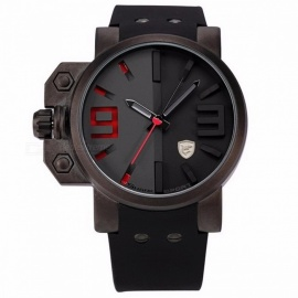 Salmon SHARK SH172 Sports Watch Luxury Brand 3D Red Dial Analog Silicone Band Mens Army Military Quartz Clock Relogio Masculino Black
