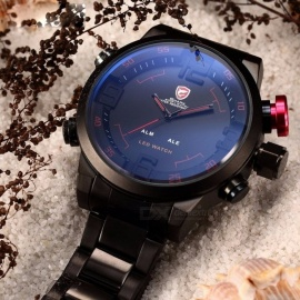 Gulper SHARK SH105 Sports Watch Digital LED Men's Top Brand Luxury Black Red Calendar Steel Band Wrist Quartz Watch Reloj Hombre Black