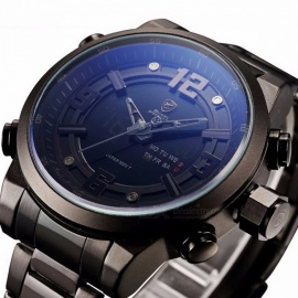 Basking Shark SH343 Sports Watch Brand Fashion Chrono Men Waterproof Digital Military Steel Band Watches Clock Relogio Masculino Black