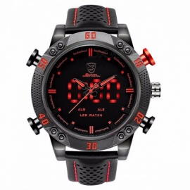 Kitefin Shark SH261 Sports Watch Brand Mens Military Quartz Red LED Hour Analog Digital Date Alarm Leather Wrist Watches Relogio Black + Red