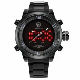 Gulper Shark SH364 Sports Watch Large Dial Black Outdoor Men LED Digital Wristwatches Waterproof Alarm Calendar Fashion Watch Red Analog SH360