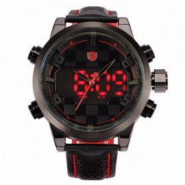 Sawback Angel Shark SH203 Sports Watch LED Black Red Stainless Steel Case Digital Dual Movement Leather Mens Waterproof Watches Black