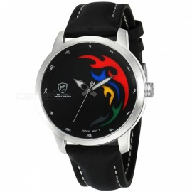 Top Brand Luxury SHARK SH515 Sports Watch Men 2016 Games Limited White Black Flame Genuine Leather Olive Back Relogio Masculino Black Dial SH516
