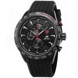 Blacktip SHARK SH395 Sports Watch Black 3 Dial Dashboard 24Hrs Date Day Silicon Strap Water Resistant Men's Quartz Wrist Watch Black