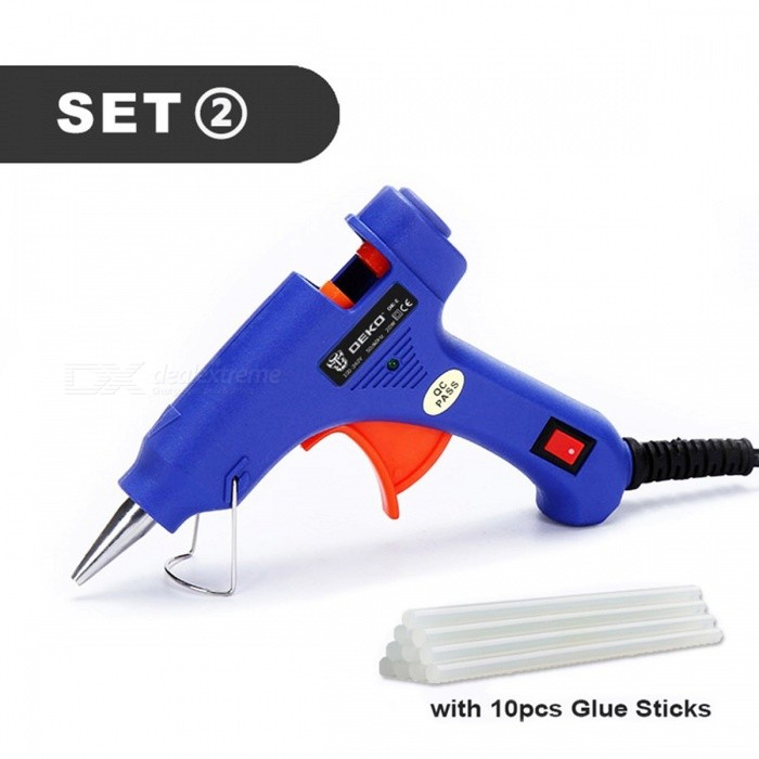 DEKOPRO 20W EU Plug Hot Melt Glue Gun with 7mm Glue Stick Industrial Mini Guns Thermo Electric Heat Temperature Tool
