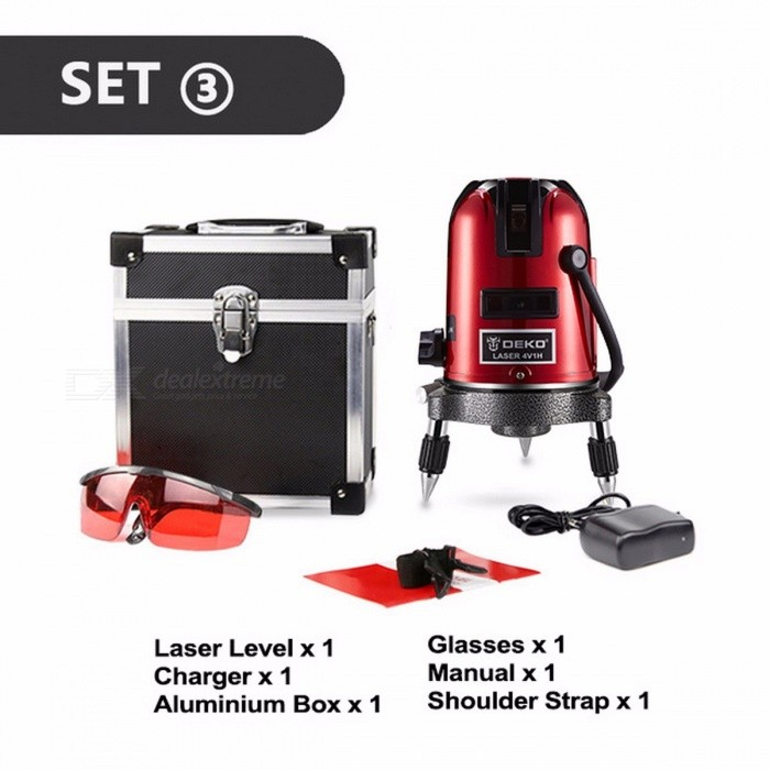 DEKOPRO 5 Lines 6 Points Laser Level Automatic Self Leveling 360 Vertical & Horizontal With Tilt&Outdoor Mode Can Use Receiver