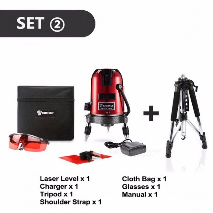 DEKOPRO 5 Lines 6 Points Laser Level Automatic Self Leveling 360 Vertical & Horizontal With Tilt&Outdoor Mode Can Use Receiver SET4