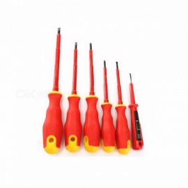 DEKOPRO Electricians Screwdriver Set Tool Electrical Fully Insulated High Voltage Multi Screw Head Type - 6PCS RED