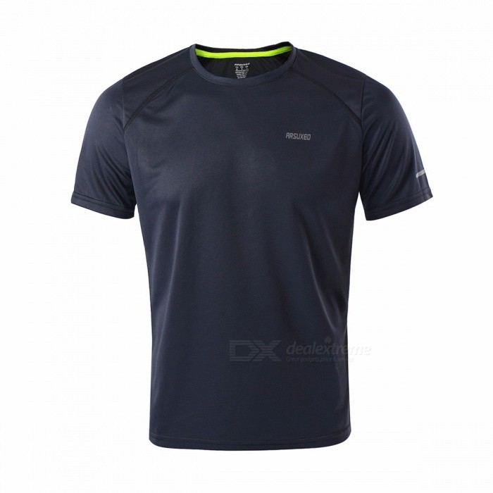 Mens Quick Dry Breathable Fitness T-shirt, Men Jersey Sports Running Shirt, Slim Fit Traning Short Sleeve Tops L/Dark grayDescription<br><br><br><br><br>Season: Summer,Winter,Spring,Autumn<br><br><br>Gender: Men<br><br><br><br><br>Fit: Fits true to size, take your normal size<br><br><br>Brand Name: ARSUXEO<br><br><br><br><br>Material: Polyester<br><br><br><br><br><br><br><br><br><br><br><br><br>This is a classic crewneck T-shirt you can count on.<br> &amp;nbsp;<br>Features:<br> Size is optional (chest measurement): M(CN),S(EU),S(US)=Chest 98cm, <br>35.58in / L(CN),M(EU),M(US)=Chest 102cm, 40.16in / <br>XL(CN),L(EU),L(US)=Chest 106cm, 41.73in / XXL(CN),XL(EU),XL(US)=Chest <br>110cm, 43.31in<br> Made of 100% polyester fabric, breathable, quick-drying, wicking, feels amazing against your skin.<br> Collar reinforcement for durable wearing.<br> Body fabric treated with three-needle-five-thread stitch.<br> Minimal flat-seam construction wont chafe or restrict movement.<br> Reflective stripe on shoulders and a reflective logo on the chest for safer night running.<br> Its streamlined sleeve design includes a range of motion-enhancing underarm gusset.<br><br>Specifications:<br> Color: Dark grey / Blue / Orange / Yellow (optional)<br> Material: 100% polyester<br> Item size: M(CN),S(EU),S(US)=Chest 98cm, 35.58in / <br>L(CN),M(EU),M(US)=Chest 102cm, 40.16in / XL(CN),L(EU),L(US)=Chest 106cm,<br> 41.73in / XXL(CN),XL(EU),XL(US)=Chest 110cm, 43.31in (optional)<br> Item weight: Approx. 130-156g / 4.56-5.49oz<br> Package weight: Approx.141-167g / 4.97-5.91oz<br><br>Size Details: <br><br><br><br><br><br>Size <br><br><br><br>Chest <br><br><br><br><br>Back Length <br><br><br><br><br>Shoulder <br><br><br><br>Bottom Hem <br><br><br>Suitable for <br><br><br><br><br>EU <br><br><br>US <br><br><br>CN <br><br><br><br>cm<br><br><br><br><br>in<br><br><br><br><br>cm<br><br><br><br><br>in<br><br><br><br><br>cm<br><br><br><br>in<br><br><br>cm<br><br><br>in&amp;nbsp;&amp;nbsp;<br><br><br>Height(cm)