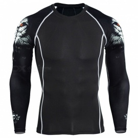 Men Compression Long Sleeve Running Sports Quick Dry T-Shirt, Bodybuilding Weightlifting Base Layer Gym Fitness Tight Tee Tops  M/C1white