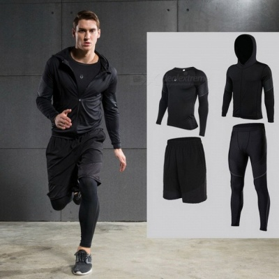 Men's Compression Hooded Running Set, Long Sleeve Shirt Jacket Shorts and Pants for Joggers, Gym Fitness Tights Suit S/TC0529green