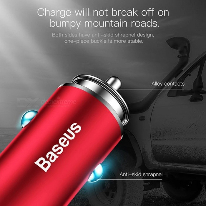 Baseus Quick Charge QC3.0 Car Charger for IPHONE Samsung Xiaomi Phone, Dual USB Fast Charging 5V 3A Car-Charger