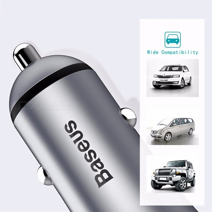 Baseus Dual Usb Car Charger With Led Light For Iphone X 8