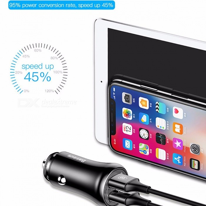 Baseus Dual USB 5V 4.8A Car Charger for IPHONE Samsung Huawei Xiaomi Mobile Phone, Fast Charging USB Car Phone Charger