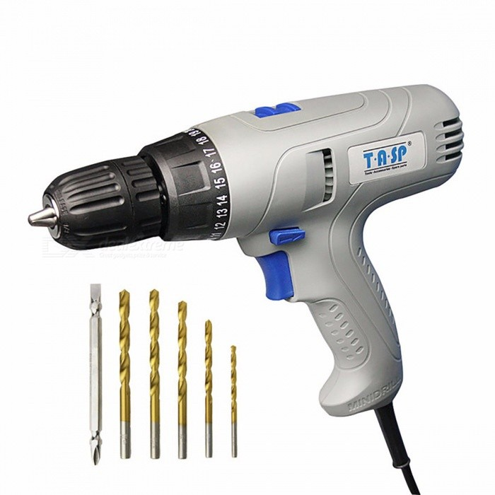TASP Portable Premium Durable 220V 280W Electric Drill Torque Adjustable Screwdriver Set with 5m Cable  EU/GrayDescription<br><br><br><br><br>Brand Name: TASP<br><br><br>Rated Input Power: 280W<br><br><br><br><br>is_customized: Yes<br><br><br>Power Source: AC<br><br><br><br><br>Usage: Home DIY<br><br><br>Rated Voltage: 220V<br><br><br><br><br>No-Load Speed: 1050rpm<br><br><br>Drill Type: Other<br><br><br><br><br><br><br><br><br><br><br><br>TASP 220V 280W Electric Drill Screwdriver Set<br><br><br>Main feature?<br><br><br><br>2-speed for drilling and screwing<br><br><br>5m&amp;nbsp; cable for convenient use<br><br><br>0~10mm keyless chuck<br><br><br>0~15NM adjustable torque setting<br><br><br><br>Specification:<br><br><br><br>Rated&amp;nbsp;Voltage:220~240V/50Hz&amp;nbsp;<br><br><br>Rated&amp;nbsp;Power:280W&amp;nbsp;<br><br><br>No load&amp;nbsp;speed: 0~370/0~1050min&amp;nbsp;<br><br><br>Torque adjustment:20+1<br><br><br>Max torque:15.5NM<br><br><br>Working capability: wood 25mm, metal 8mm<br><br><br>Chuck:0.8-10mm,keyless&amp;nbsp;<br><br><br>Net weight:1.35kg&amp;nbsp;<br><br><br>VDE European Plug,&amp;nbsp;5.0m cable<br><br><br>Packaging: Mail box<br><br><br><br>Package contains:<br><br><br><br>280W electric drill screwdriver x 1<br><br><br>Spare carbon brushes x 1<br><br><br>HSS Drill Bits: 3 mm, 4 mm, 5 mm, 5.5 mm, 6 mm.<br><br><br>Screwdriver Bits: &amp;nbsp;Double-Ended ( PH2, SL6)<br><br><br><br>This tool is ideal for all kinds of drilling and screwing jobs in and around the home.<br>