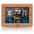 FJ3365 Weather Station Color Forecast With Alert, Temperature, Humidity, Barometer, Alarm, Moon Phase, Digital Barometer Wood