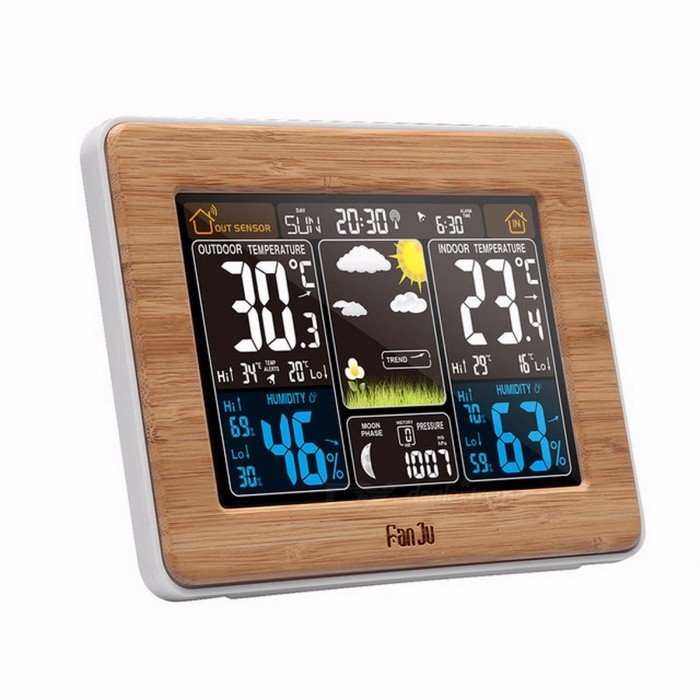 FJ3365 Weather Station Color Forecast With Alert, Temperature, Humidity, Barometer, Alarm, Moon Phase, Digital Barometer