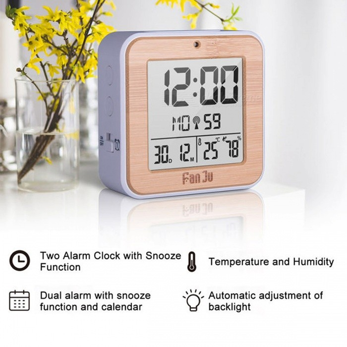 Fanju FJ3533 Multifunction Digital Alarm Clock with Temperature and Humidity Dual Alarm Battery Operated Backlight Snooze Date