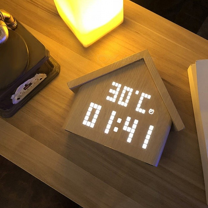 PLUS-DOT Wooden Novel LED Digital Alarm Clock Voice Control Time Temperature Humidity Display Snooze Led Alarm Clock Home Decor