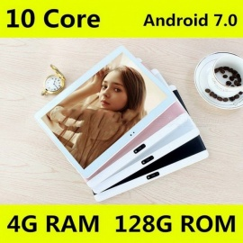 10.1 Inches Original 4G Tablet PC Phone Call Android 7.0 Dual SIM Card 1920x1200 Deca Core 128GB Tablets PC WiFi Bluetooth gold/128G ADD case