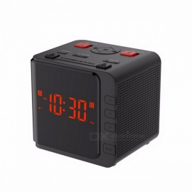 Baldr AM/FM Digital Radio Clock EU/US Plug LED Light Dimmer Table Snooze Sleep Timer Watch Battery Backup Dual Alarm Clock Black