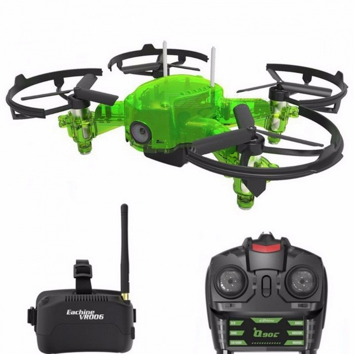 Eachine Q90C Flyingfrog FPV Racer Quacopter 1000TVL Camera VR006 Goggles Switch Freq Transimitter VS Eachine E013 Flyingfrog Q90 With GogglesR/C Airplanes&amp;Quadcopters<br>Description<br><br><br><br><br>Type: Helicopter <br><br><br>Features: Remote Control,Model <br><br><br><br><br>Aerial Photography: No <br><br><br>State of Assembly: Ready-to-Go <br><br><br><br><br>Age Range: & 14 years old,12-15 Years,Grownups <br><br><br>Package Includes: USB Cable,Charger,Original Box,Camera,Operating Instructions,Batteries,Remote Controller <br><br><br><br><br>Motor: Brush Motor <br><br><br>Material: Plastic,Carbon Fiber,Metal <br><br><br><br><br>Control Channels: 4 Channels <br><br><br>Controller Mode: MODE2 <br><br><br><br><br>Power Source: Electric <br><br><br>Remote Control: Yes <br><br><br><br><br>Brand Name: EACHINE <br><br><br><br><br><br><br><br><br><br><br><br>Description:<br><br><br><br><br><br><br>Aircraft <br><br><br><br>Wheelbase <br><br><br>90mm <br><br><br><br><br>Size <br><br><br>88*58*40mm <br><br><br><br><br>Weight <br><br><br>42g (Not Included Battery) <br><br><br><br><br>Motor <br><br><br>8520 2S Brushed Coreless Motor <br><br><br><br><br>Propeller <br><br><br>44mm 3-blade propellers <br><br><br><br><br>Battery <br><br><br>7.4V 300mAh 25C Lipo Battery <br><br><br><br><br>Flight Time <br><br><br>About 6mins <br><br><br><br><br>Working Environment Temperature <br><br><br>-10? to +40? <br><br><br><br><br>Flight Controller <br><br><br>Customized Version Augmentation Flight Controller <br><br><br>1. Support Freerider simulator function<br>2. Support to indicate current map transmission point<br>3. Support Betaflight software PID parameter tuning <br><br><br><br><br>Camera <br><br><br>Frequency <br><br><br>5.8G <br><br><br><br><br>Wireless channel <br><br><br>40CH <br><br><br><br><br>Sensor <br><br><br>1/3 CMOS <br><br><br><br><br>Camera Resolution <br><br><br>1000TVL <br><br><br><br><br>Lens <br><br><br>7mm <br><br><br><br><br>Angle <br><br><br>110° Wide Angle <br><br><br><br><br>Output power <br><br><br>25mW <br><br><br><br><br>FPV Range <br><br><br>?120m <br><br><br><br><br>Frequency Table <br><br><br><br><br><br><br>CH1 <br><br><br>CH2 <br><br><br>CH3 <br><br><br>CH4 <br><br><br>CH5 <br><br><br>CH6 <br><br><br>CH7 <br><br><br>CH8 <br><br><br><br><br>5658 <br><br><br>5695 <br><br><br>5732 <br><br><br>5769 <br><br><br>5806 <br><br><br>5843 <br><br><br>5880 <br><br><br>5917 <br><br><br><br><br><br><br><br><br>VR006 Goggles <br><br><br>Size <br><br><br>138*129*79mm(without antenna) <br><br><br><br><br>Weight <br><br><br>164.7g <br><br><br><br><br>Display <br><br><br>3 inches <br><br><br><br><br>Resolution <br><br><br>500*300 pixels <br><br><br><br><br>Antenna&amp;nbsp;Connector <br><br><br>RP-SMA <br><br><br><br><br>Working Voltage <br><br><br>1s Battery (3.7-4.2v) <br><br><br><br><br>Working Current <br><br><br>350-450mA <br><br><br><br><br>Receiving Sensitivity <br><br><br>-95dBM <br><br><br><br><br>Build-in Battery <br><br><br>500mAh 3.7V <br><br><br><br><br>Working Time <br><br><br>1h <br><br><br><br><br>Features <br><br><br><br>Small and Light, convenient to carry <br><br><br>With One Key Auto Search function. <br><br><br>Only English available. <br><br><br>Support OSD function, can display current power <br><br><br>Support AV-IN <br><br><br>Build in 3.7V 500mAh battery, 1h working time. <br><br><br><br><br><br>Remote Control <br><br><br>Frequency <br><br><br>2.4G <br><br><br><br><br>Control Distance <br><br><br>?120m <br><br><br><br><br>Battery <br><br><br>4*AAA battery(not included) <br><br><br><br><br>Function <br><br><br>1. Support switchable FM code.<br>2. Support low voltage vibration alarm prompt function.<br>3. Support 3 rudder quantities: Large/Medium/Small<br>4. Support 3 flight modes: Self-stabilizing, Semi-stable, Manual <br><br><br><br><br><br>Features:<br><br><br>- Body cover made of Transparent fluorescent green material, night flight more brilliant.<br>- FPV first-person view with 1000TVL camera, real-time transmission of high-definition video. <br><br>- Customized Version Augmentation Flight Controller, support Freerider simulator, Betaflight software.<br>- Customized Version remote control, support low voltage vibration alarm and 3 flight modes.<br>- 8520 2S power motor, high speed flight.<br>- Large capacity 7.4V 300mAh battery, for up to 6mins flight time.<br><br>Package Included:<br><br><br>With Goggles Version:<br>1 x Q90C Quadcopter <br>1 x Transmtter<br>1 x 7.4V 300mAh Lipo Battery<br>1 x USB charging cable<br>8 x Blades<br>4 x Props Guads<br>1 x Blade removal tool<br>1 x Screwdriver <br><br><br>1 x VR006 Goggles (single antenna) <br><br><br>1 x Straight pole antenna <br><br><br>1 x &amp;nbsp;AV in cable<br>1 x Goggles&amp;nbsp;Charging Cable <br><br>2 x Goggles Alcohol Cloth<br>1 x User Manual<br><br>Without Goggles Version:<br>1 x Q90C Quadcopter <br>1 x Transmtter<br>1 x 7.4V 300mAh Lipo Battery<br>1 x USB charging cable<br>8 x Blades<br>4 x Props Guads<br>1 x Blade removal tool<br>1 x Screwdriver<br>1 x User Manual<br>