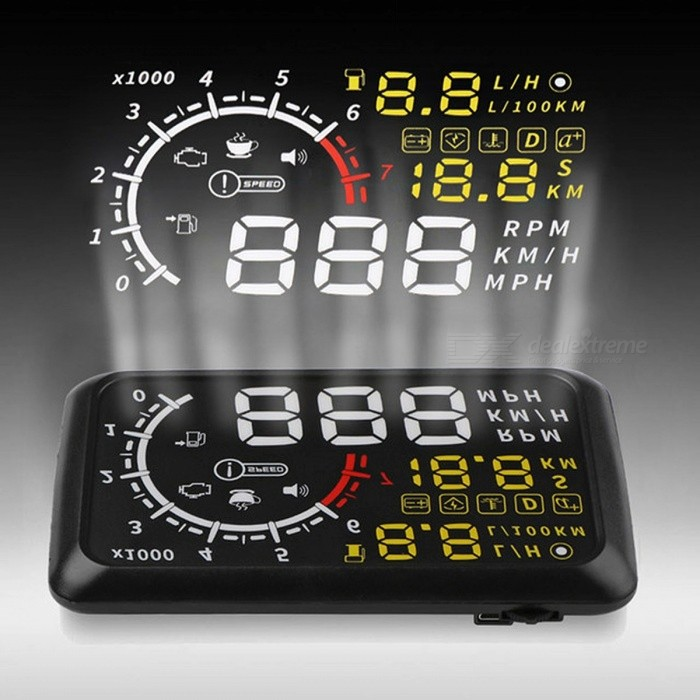 Onever 5.5'' 4C OBDII Car HUD OBD2 Port Head Up Display Windows Screen Speed Projector Warning System Windshield Projector Alarm