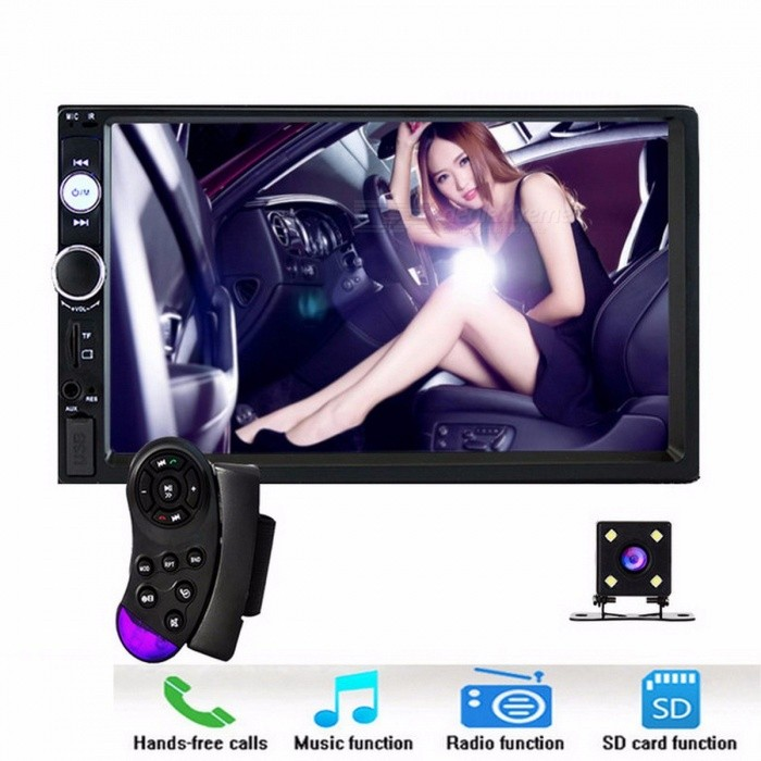 Podofo Autoradio 2 Din In Dash Car Radio 7 Touch Screen Car Digital MP5 Player, Bluetooth USB SD Multimedia Rear View Camera car radio and cameraCar DVD Players<br>Description<br><br><br><br><br>Special Features: Radio Tuner<br><br><br>Brand Name: podofo<br><br><br><br><br>Placement: In-Dash<br><br><br>OSD Language: English<br><br><br><br><br>Voltage: 12V<br><br><br>Display Size: 7<br><br><br><br><br><br><br><br><br><br><br><br>Description: <br><br><br>1.Touch Screen size: 7 inch <br><br><br>2.Voltage: DC 12V <br><br><br>3.Speaker impedance: 4ohm <br><br><br>4.Maximum power: 50W*4 <br><br><br>5.Volume control: +/-8 dB(Bass 100HZ Treble 10KHZ) <br><br><br>6.FM tuning range: <br><br><br>&amp;nbsp; Tuning range: 87.5-108MHz <br><br><br>&amp;nbsp; Applicable sensitivity: 15dB <br><br><br>&amp;nbsp; SNR: 50dB <br><br><br>&amp;nbsp; Stereo Resolution: 30dB <br><br><br>7.Car<br> Parking System Assistance. It will turn into the parking mode <br>automatically, record the traffic.(Rear View Camera Not Included) <br><br><br>8.High<br> resolution: 1080P Ful HD. 7 inch LCD Touch screen give you a fantastic<br> experience to watch HD video. &amp;nbsp;Support video playback format of <br>AVI/MP4/FLV/PMP/RM/RMVB/MPG. <br><br><br>9.Bluetooth<br> function: Built-in Bluetooth for Wireless Audio Streaming, Built-in <br>Microphone for Handsfree Call. Solve your calling problem when you <br>drive. Whats more? Connect your phone with bluetooth function, raise <br>the sounds of your GPS and your favorite songs in the car speaker. <br><br><br>10.Multifunction: high current USB output, can be charged mobile phone <br><br><br>Play the role of your MP3, MP5 player,radio, your parking sensor, etc. Its your best choice to your car. <br><br><br>11.Language:Russian/English/Chinese/Italian/German/Spanish/French/Portuguese <br><br><br>&amp;nbsp;<br><br><br>Features: <br><br><br>1.7 inch HD car radio MP5 player with digital touch screen. <br><br><br>2.Support Bluetooth hands-free calls,bluetooth musi