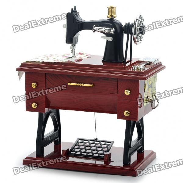 Vintage Mini Sewing Machine Style Mechanical Music Box