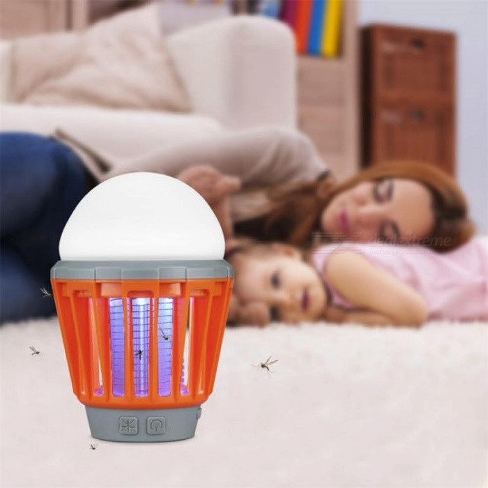 Portable Camping Light Bulb USB Charging LED Mosquito Killer Lamp Waterproof Repellant Pest Insect Mosquito Killer Green