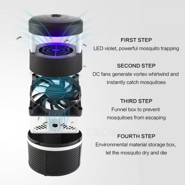 Smart UV LED Mosquito Killer Lamp USB 5W Mosquitoes Killer Lamp Non-Radiation Mute Household Mosquitoes Repelling Lamp