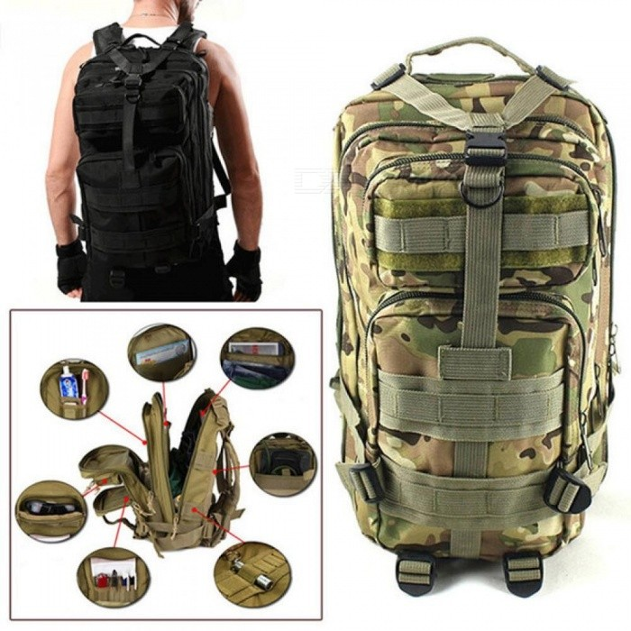 30L Outdoor Military Tactical Backpack Molle Bag Army Sport Travel Rucksack Camping Hiking Trekking Camouflage Bag
