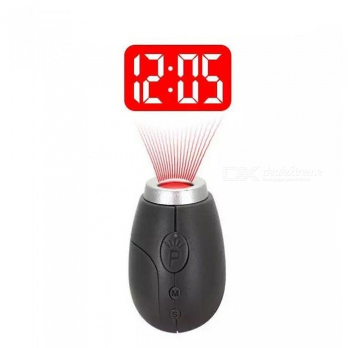 Portable Digital Time Projection Clock Mini LED Watch Night Light Projector Flashlight With Hanging Rope Black
