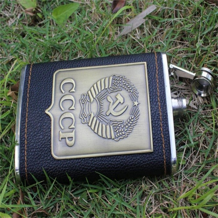 8oz Delicate Stainless Steel Alcohol Hip Flask Set Engraving Faux Leather Liquor Vodka Whiskey Wine Bottle With Caps