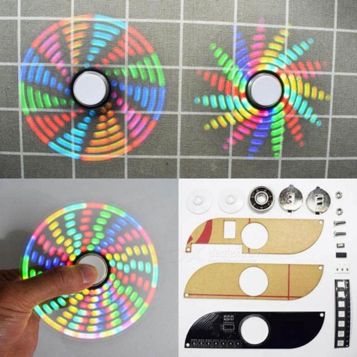 Funny Cool Toy DIY Full Color Rotating POV LED Electronic Kit 5050 RGB LED Rotating Fidget Hand Spinner