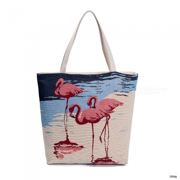 Embroidery Design Fl And Flamingo Print Casual Tote Bag Women Large Capacity Shoulder Female Summer