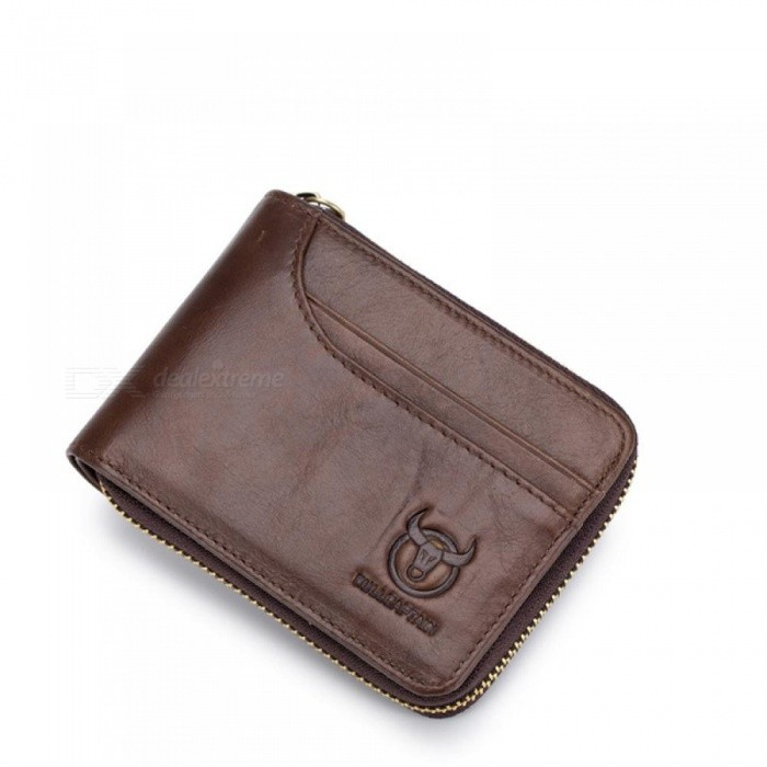 0979138049 Genuine Leather Men Wallets Short Coin Purse Small Retro Wallet Cowhide  Leather Card Holder Pocket Purse Men Wallets brown