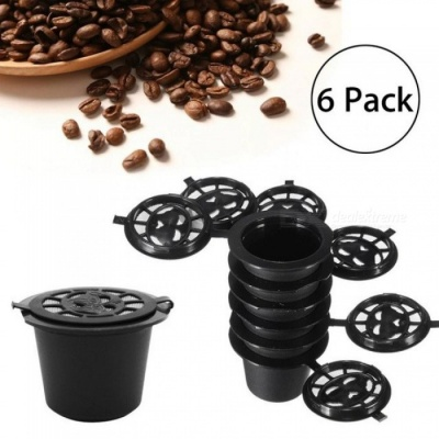 6PCS Reusable Coffee Capsules+Spoon+Brush  Reusable Refilling Filter For Nespresso Black Refillable Coffee Capsule Cup Machine