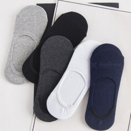 5pairs Men Socks Slippers Bamboo Fibre Non-slip Silicone Invisible Boat Compression Socks Summer Male Ankle Socks mixed color