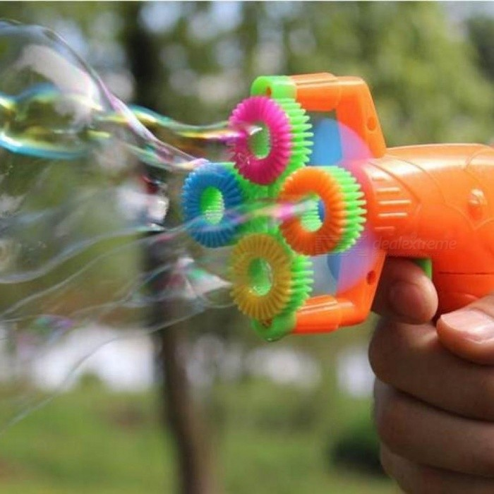 Electric Soap Bubble Gun #5 Battery Power Automatic Bubble Water Blowing Machine Kids Holiday Water Gun Toy