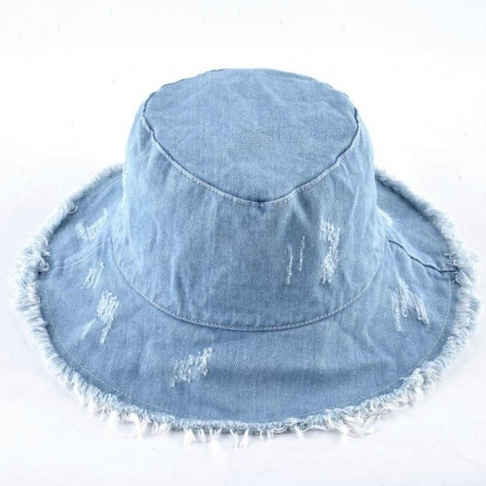 9dbadfa9d06 ... Summer Washed Denim Sun Hat Women Fashion Tassel Floppy Cap Ladies Wide  Brim Beach Bucket Hats