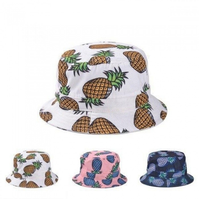 Fashion Bucket Hats Lovely Summer White Pineapple Printed Bucket Hats  Outdoor Pineapple Fishing Sun Caps Women Girls sky blue - Worldwide Free  Shipping - DX 9b562c568
