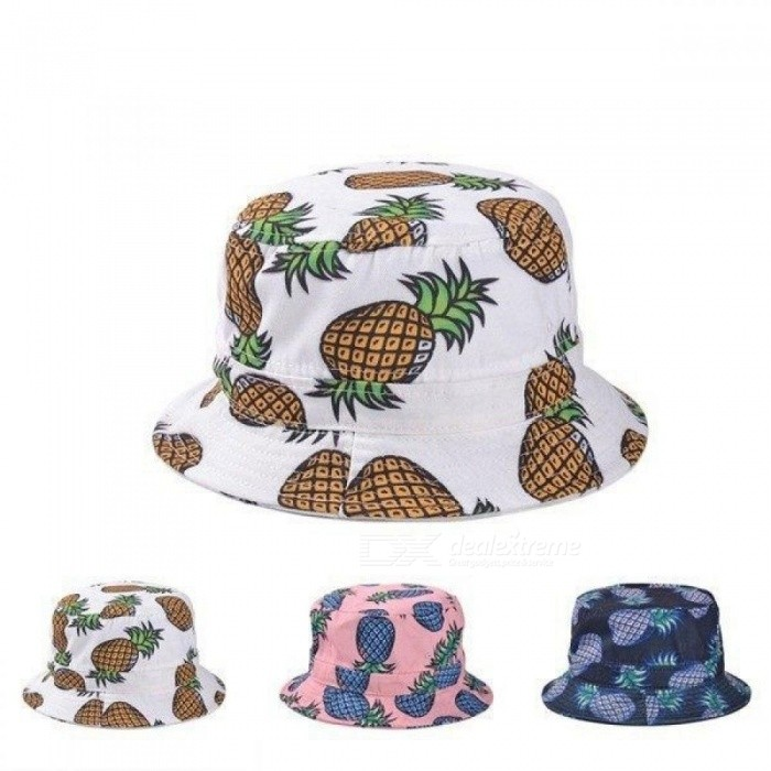 5747a1209ccde Fashion Bucket Hats Lovely Summer White Pineapple Printed Bucket Hats  Outdoor Pineapple Fishing Sun Caps Women Girls White - Worldwide Free  Shipping - DX