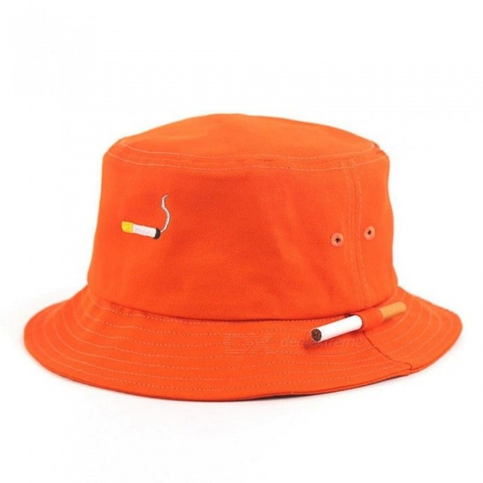 Orange Panama Bucket Hats Fashion Special Design Snapback Caps Cigarette  Embroidery Hip Hop Bucket Caps 54346d43bc15