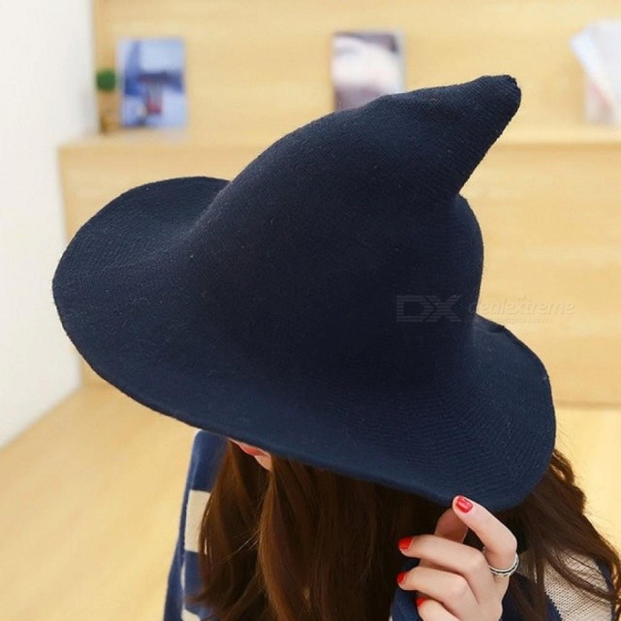 befe27248 Along theSheep Wool Cap Knitting Fisherman Hat Female Fashion Witch Pointed  Basin Bucket Hat Accessories