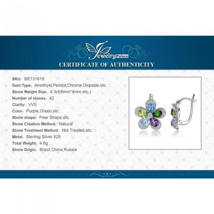 4 4ct Flower Multicolor Natural Blue Topaz Amethyst Peridot Chrome Diopside  Clip Earrings 925 Sterling Silver
