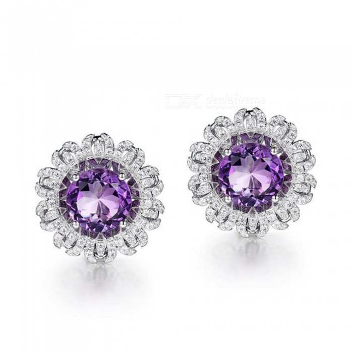 925 Sterling Silver White Gold Earring Round Natural Amethyst Purple Stone Elegant Clip Earrings For Women Fine Jewelry