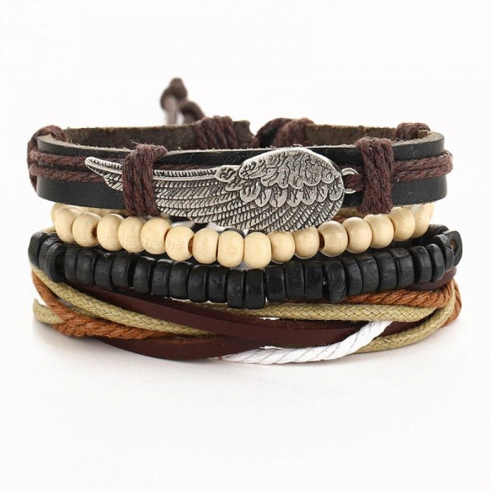 Tibet Stone Feather Multilayer Leather Bracelet Eye Fish Anchor Charms Beads Bracelets For Men Punk Wrap Wristband Bjdy190