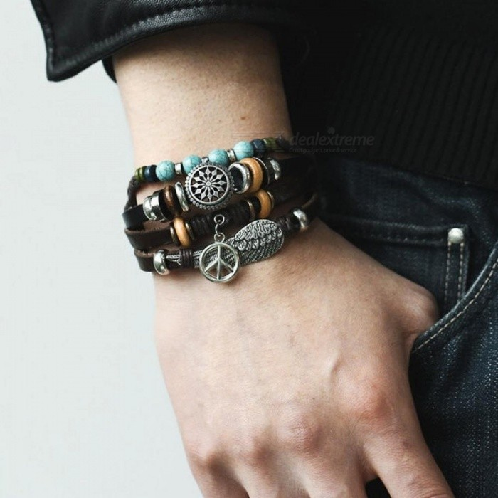 Tibet Stone Feather Multilayer Leather Bracelet Eye Fish Anchor Charms Beads Bracelets For Men Punk Wrap